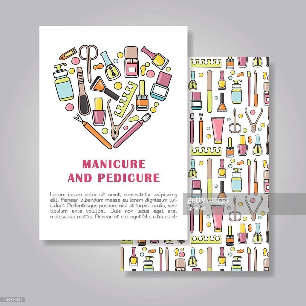 Two sides  invitation card design with a manicure illustration