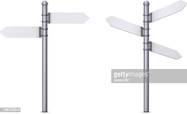 two signposts - directional sign stock illustrations