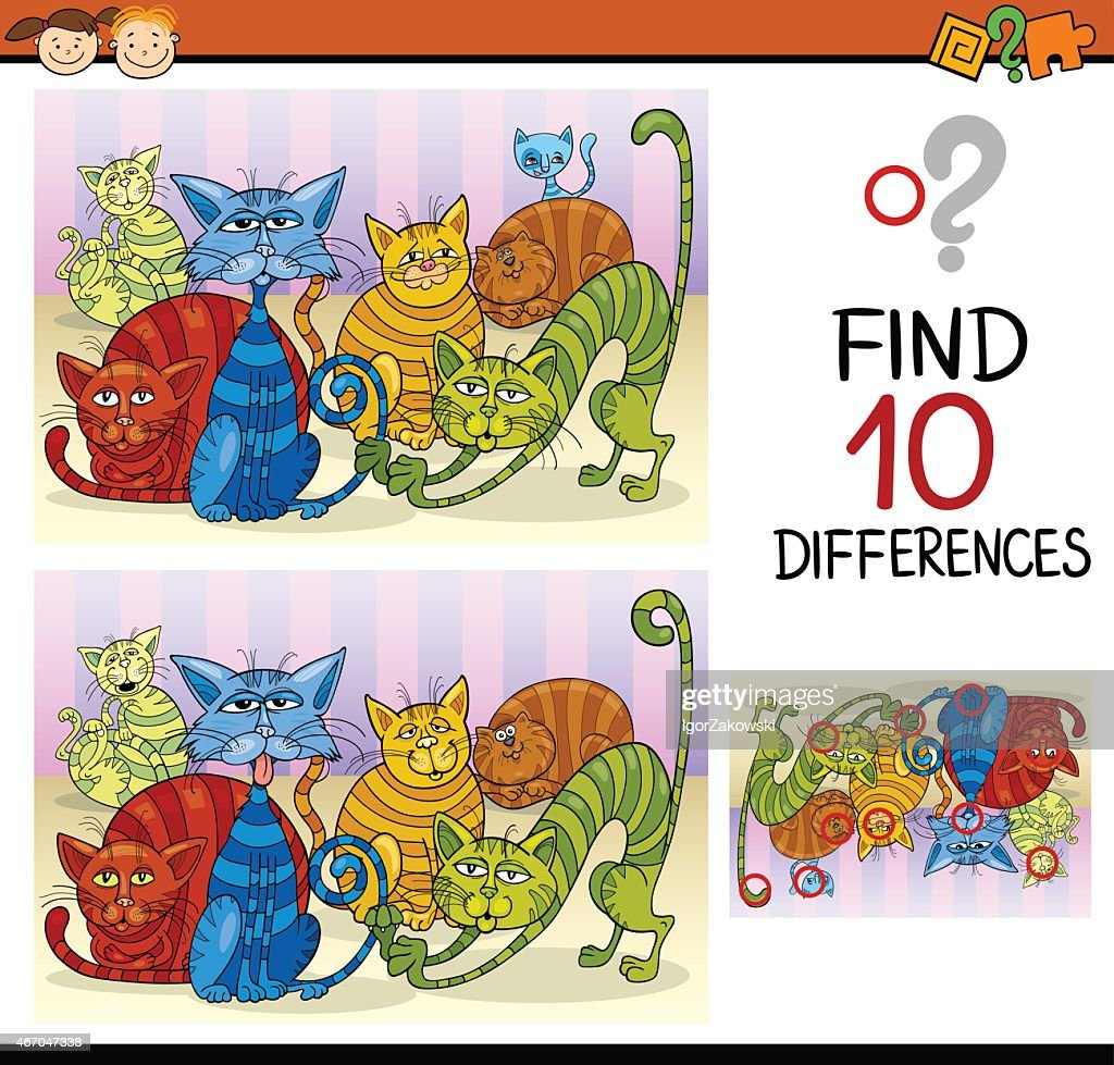 Two similar cat cartoons titled Find 10 Differences