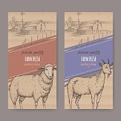Two simple farm shop labels with farmhouse, barn, sheep and goat.
