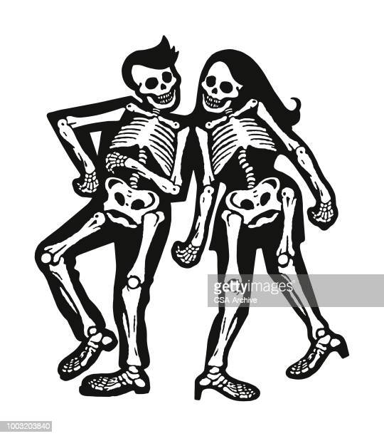 two skeleton dancers - skeleton stock illustrations, clip art, cartoons, & icons