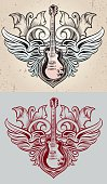 Two sketches of a guitar with wings