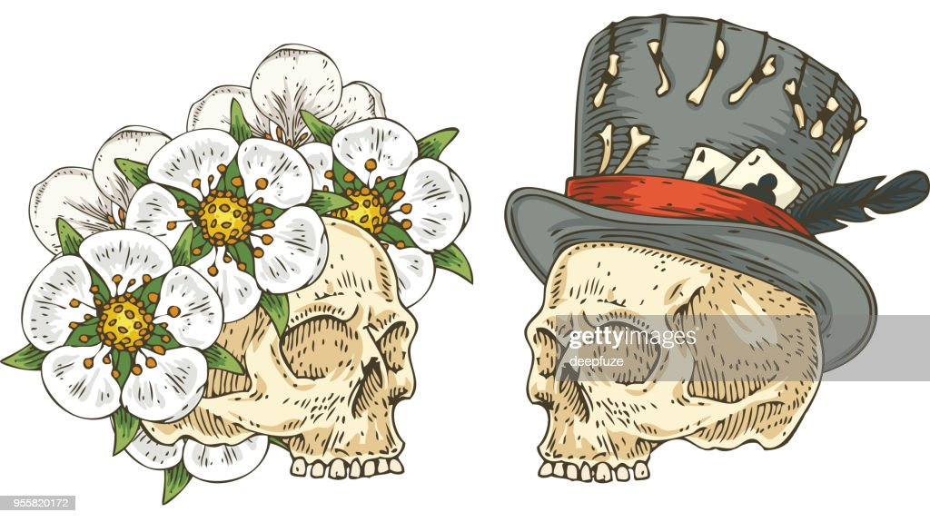 Two Skulls with Decor