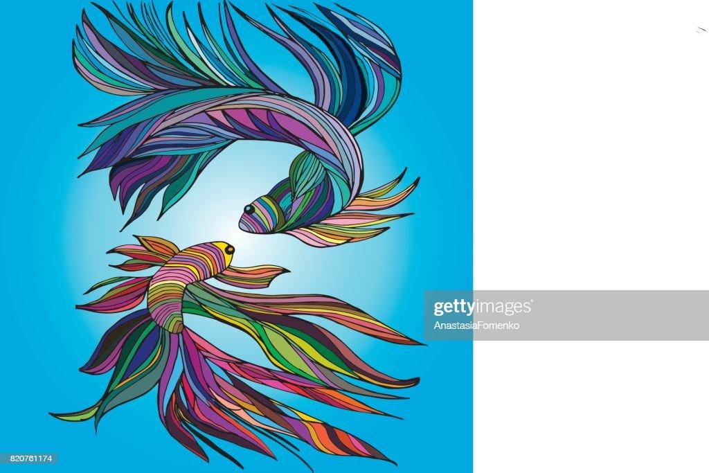 Two small fishes, yin-yang, hand-drawn, vector illustration