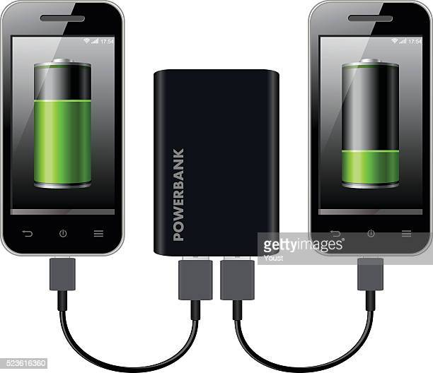two smart phones charging using power bank - electric vehicle charging station stock illustrations