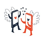 two smart phones in love