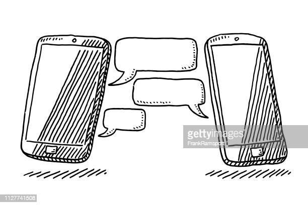 Zwei Smartphones Internet Chat Technologie zeichnen
