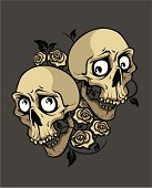 two smile skulls with roses