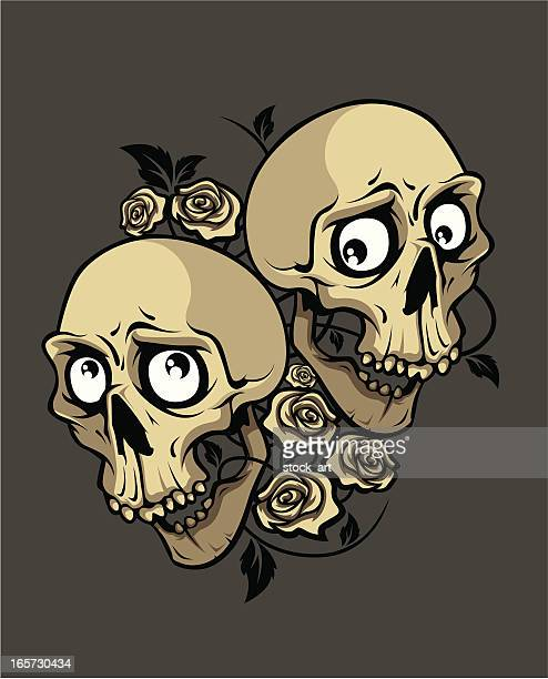 Dos sonrisa cráneo y rosas