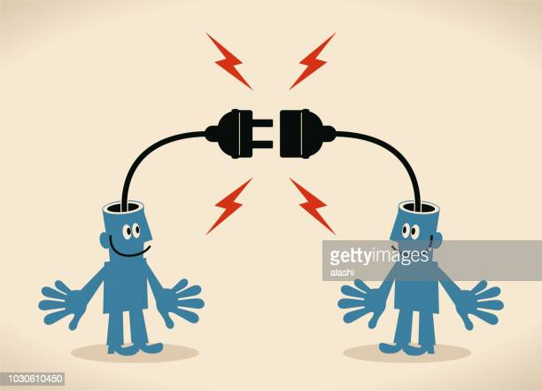 two smiling blue men with electrical plug and socket plugging in each other - electric plug stock illustrations