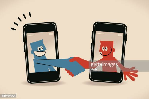 two smiling businessman inside a smart phone (mobile phone), meeting (greeting) with a handshake - interview stock illustrations, clip art, cartoons, & icons