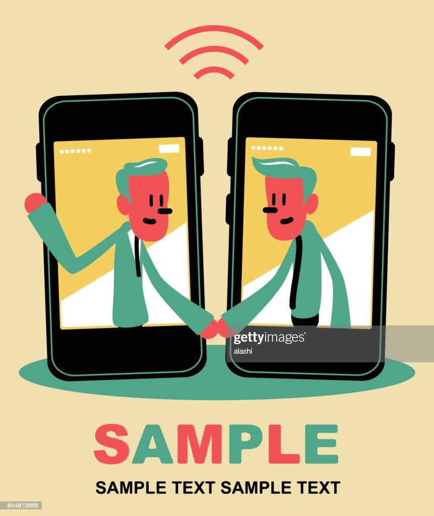 Two smiling businessman inside a smart phone with a handshake vector two smiling businessman inside a smart phone mobile phone meeting greeting with a handshake m4hsunfo