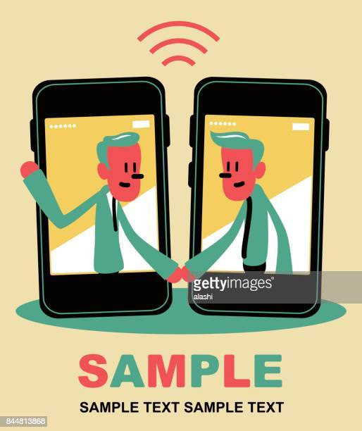 two smiling businessman inside a smart phone (mobile phone), meeting (greeting) with a handshake - financial technology stock illustrations, clip art, cartoons, & icons