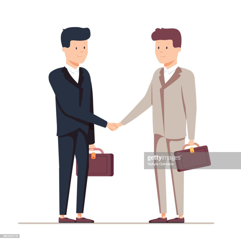 Two smiling businessmen shaking hands together. Vector, illustration