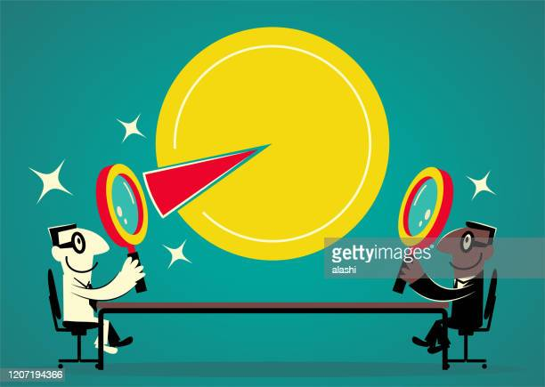 ilustrações de stock, clip art, desenhos animados e ícones de two smiling entrepreneur businessmen sitting at the conference table and looking at a pie chart with magnifying glass, mass market and niche market or emerging market - nicho