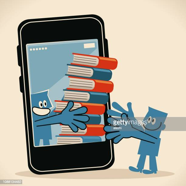 two smiling men with a stack of books and smart phone (ebook) - selling stock illustrations