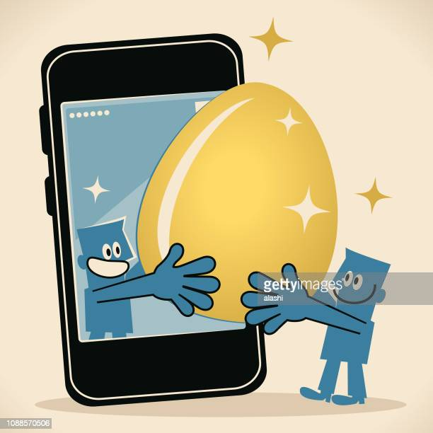 Two smiling men with big gold Easter Egg and smart phone