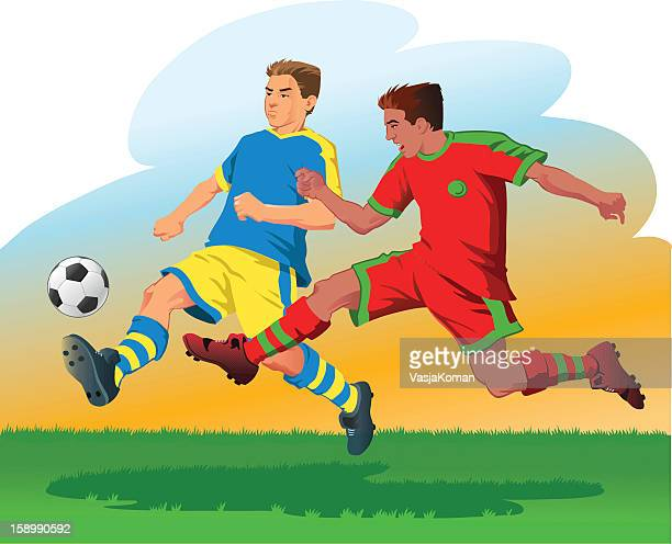 two soccer players attacking the ball - midfielder soccer player stock illustrations