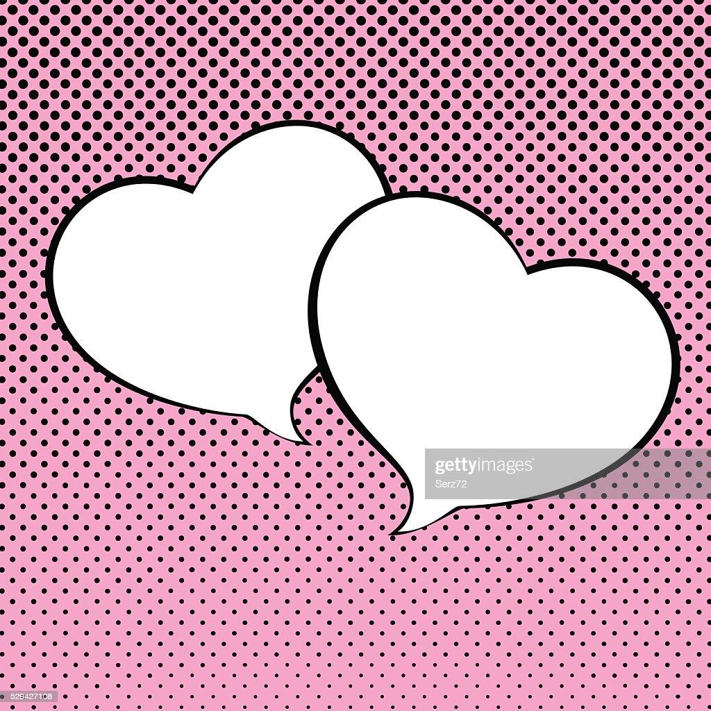 Two Speech Bubble Heart Shaped