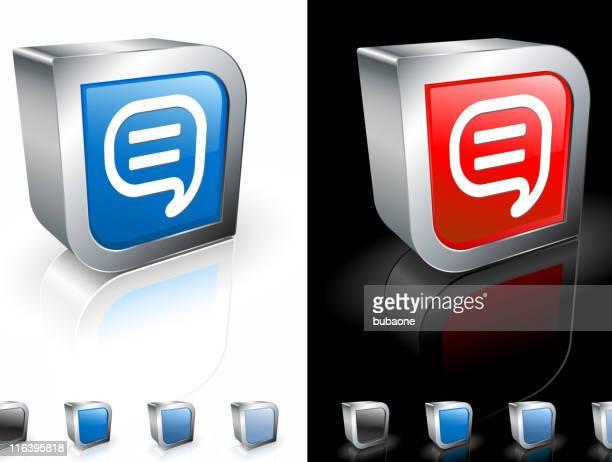 Zwei square blaue und rote Symbol mit Dialogfeld Ballons in Weiß.