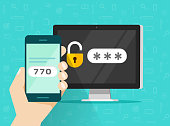 Two step authentication on smartphone vector illustration, flat cartoon cellphone and computer safety login or signin, two steps verification via mobile phone and pc clipart