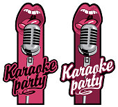 two stickers for karaoke party with mic and mouth