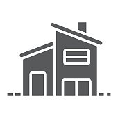 Two storey house glyph icon, real estate and home, house sign vector graphics, a solid pattern on a white background, eps 10.