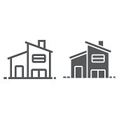 Two storey house line and glyph icon, real estate and home, house sign vector graphics, a linear pattern on a white background, eps 10.