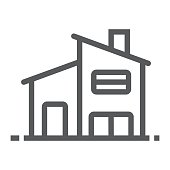 Two storey house line icon, real estate and home, house sign vector graphics, a linear pattern on a white background, eps 10.