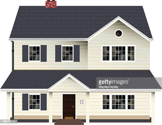 two storey house - house exterior stock illustrations, clip art, cartoons, & icons