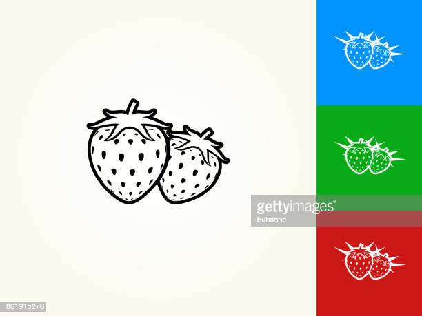 Two Strawberries Black Stroke Linear Icon