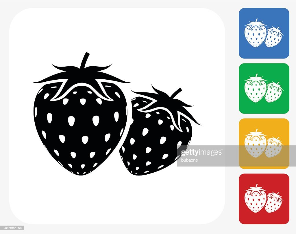 Two Strawberries Icon Flat Graphic Design