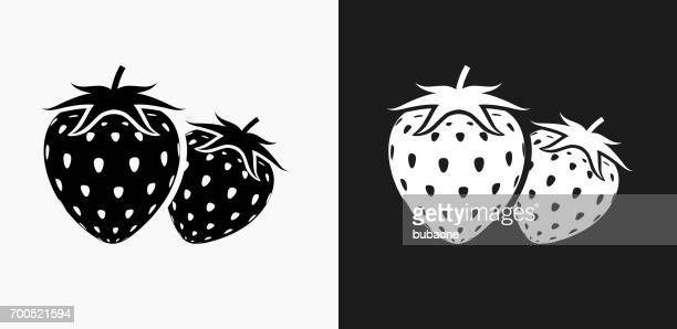 Two Strawberries Icon on Black and White Vector Backgrounds