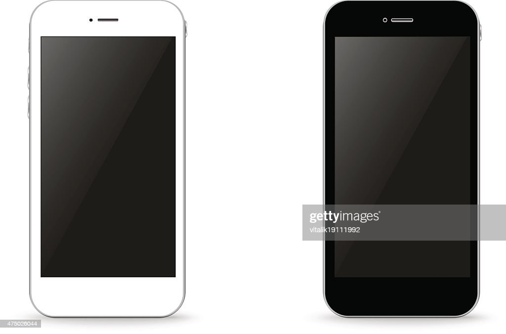 Two stylish phone black and white vector illustration