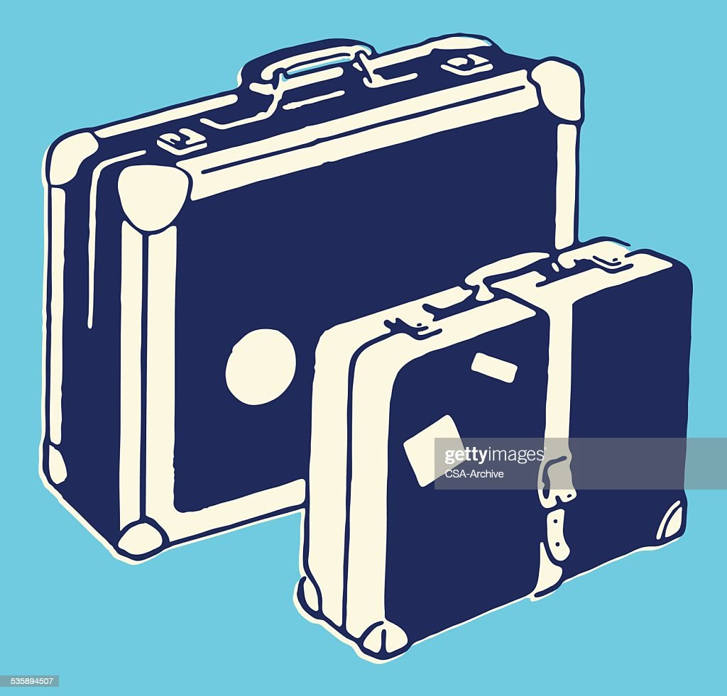 Two Suitcases : Vector Art