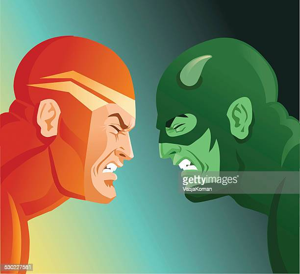two super heroes facing each other - good v evil - masculinity stock illustrations, clip art, cartoons, & icons
