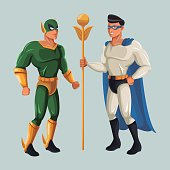 two superhero male justice with super suit