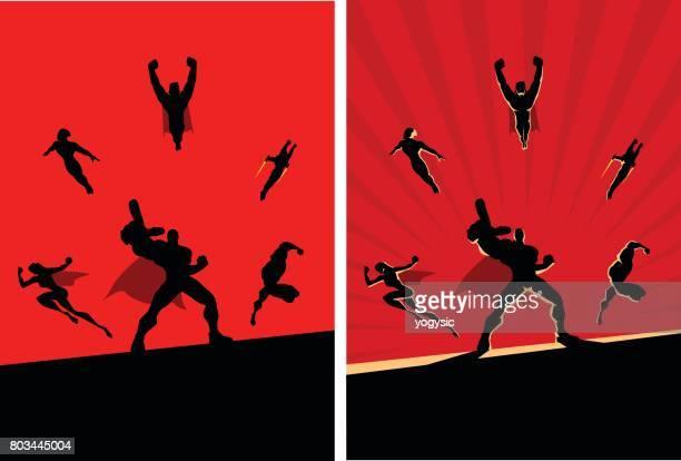 two superhero team silhouette retro flat vector illustration - action movie stock illustrations