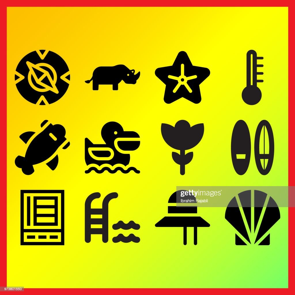 Two surfing boards, pelican and shark related icons set