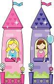 Two Sweet Princesses In Their Colorful Heart Tiled Towers.