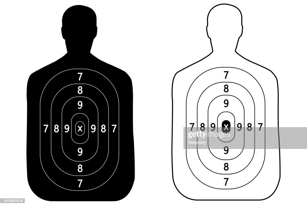 Two targets of the outline of a man shooting