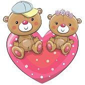 Two Teddy Bears on a heart