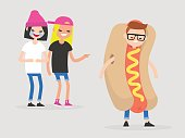 Two teenage girls joking over a boy wearing a hot dog costume. Mockery. Bulling. Flat editable vector illustration, clip art