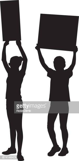 Two teenage girls Protesting Silhouette
