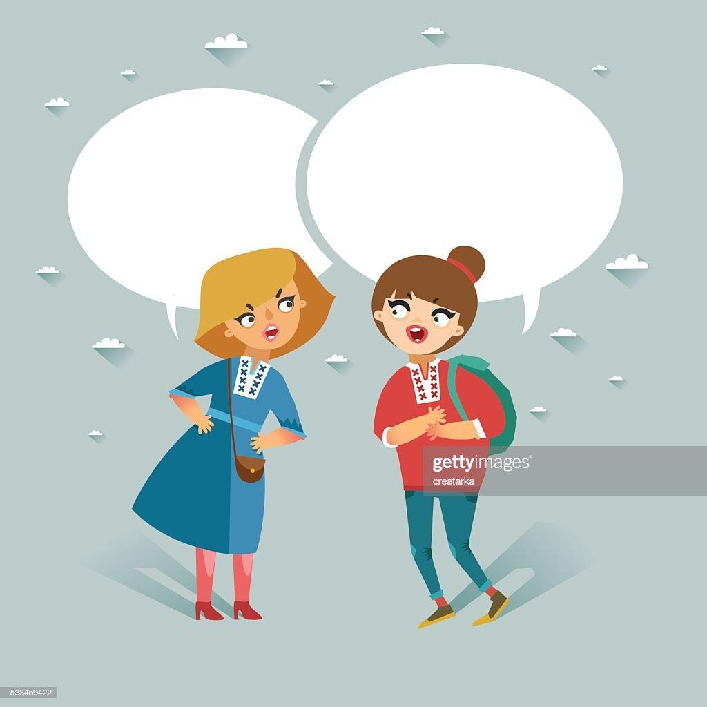 Two teenage girls talking