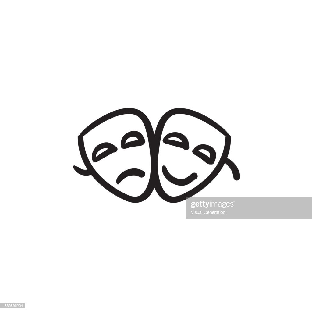 Two theatrical masks sketch icon