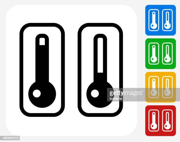 ilustraciones, imágenes clip art, dibujos animados e iconos de stock de termómetros dos planos iconos de diseño gráfico - termometro mercurio