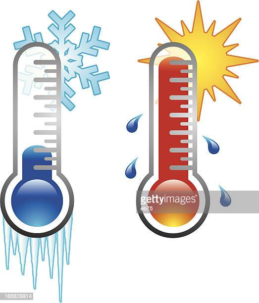 two thermometers - temperature stock illustrations