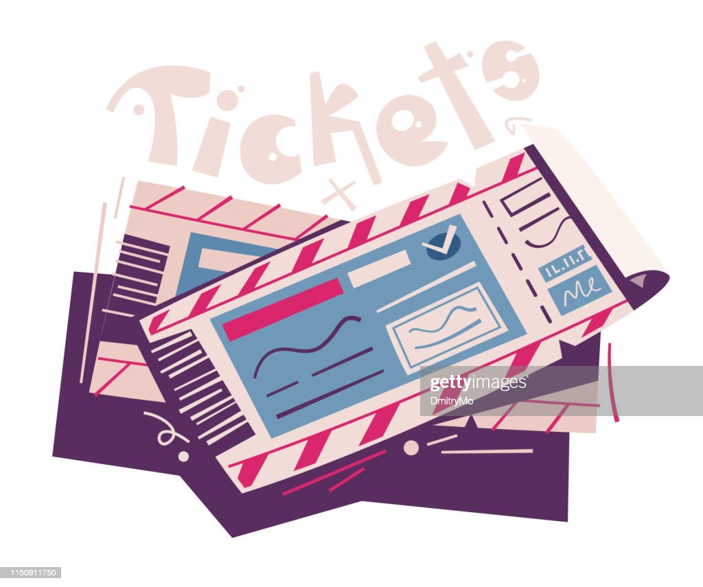 Two tickets. Cartoon vector illustration. Event and travel concept