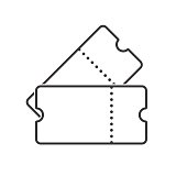 Two tickets line art. Outline tickets icon. Vector